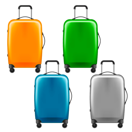 Modern plastic wheeled suitcase set. Stock Vector - 88189830