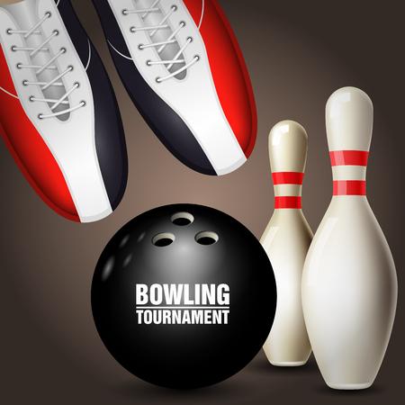 Bowling tournament poster. Illustration