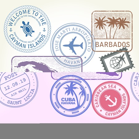 Travel stamps set Caribbean Sea theme