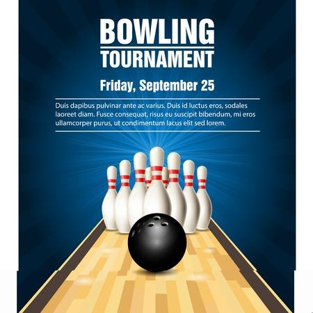 Skittles et boule de bowling sur la conception de bannière de bowling court. Banque d'images - 89311557
