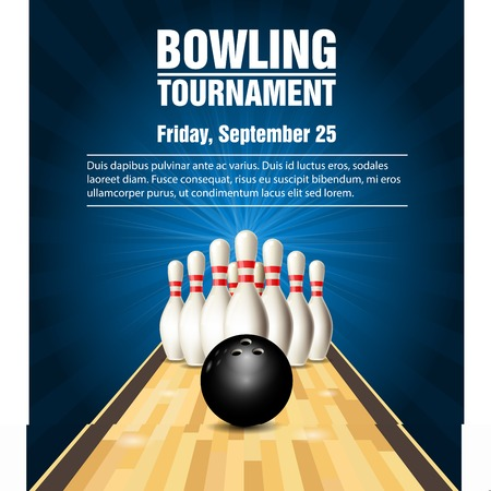 Skittles and bowling ball on bowling court banner design.