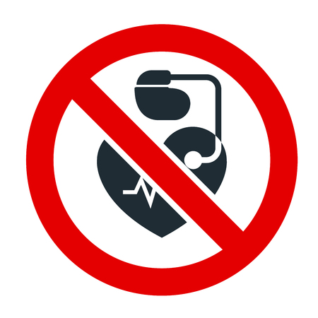 No entrance for people  with cardiac pacemaker prohibitory sign.