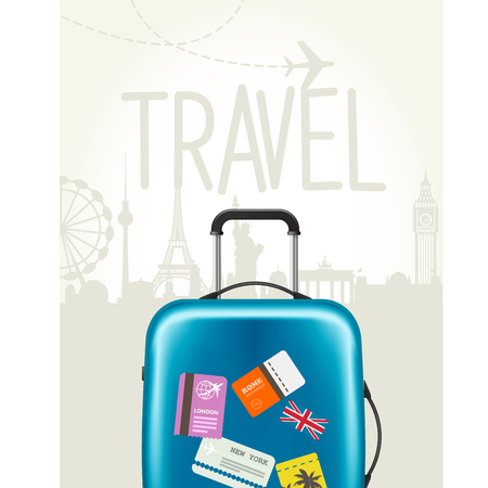 Modern suitcase with travel tags design.