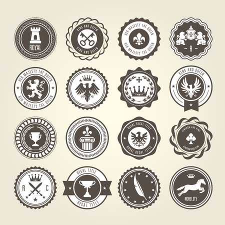 Emblems, blazons and heraldic badges - round labels.