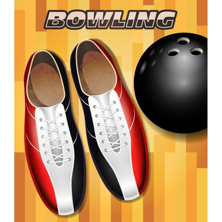 Bowling shoes and ball on bowling court parquet surface Illustration