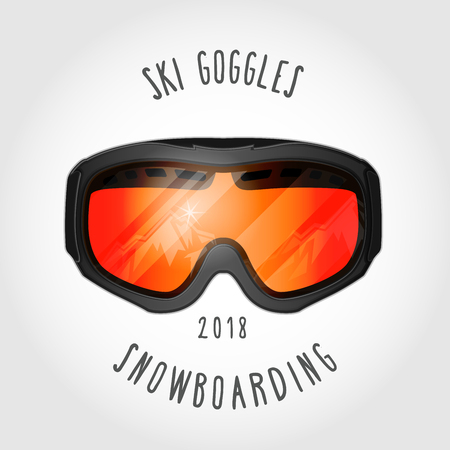 Snowboard or ski goggles with reflection of mountains