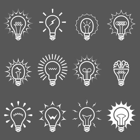Gloeilampen en lampenpictogrammen - idee of innovatiesymbolen. Stock Illustratie