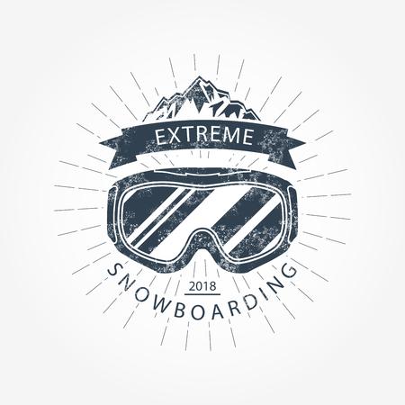 Ski goggles and mountains - ski resort emblem. Illustration
