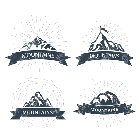 Mountain peaks labels and emblems - ski resort icon