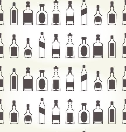 Alcohol bottels seamless patten - booze background