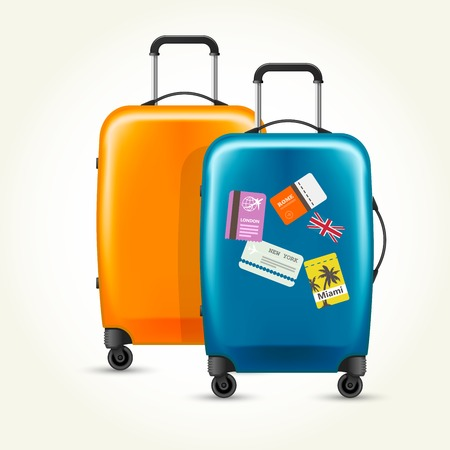 Plastic wheeled suitcases - baggage with travel tags Illustration