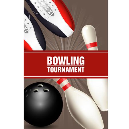 볼링 신발, 가장자리 잘라 내기 및 공 볼링 토너먼트 포스터
