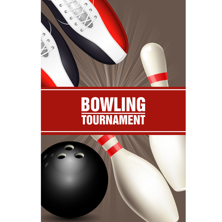Bowling tournament poster with bowling shoes, skittles and ball