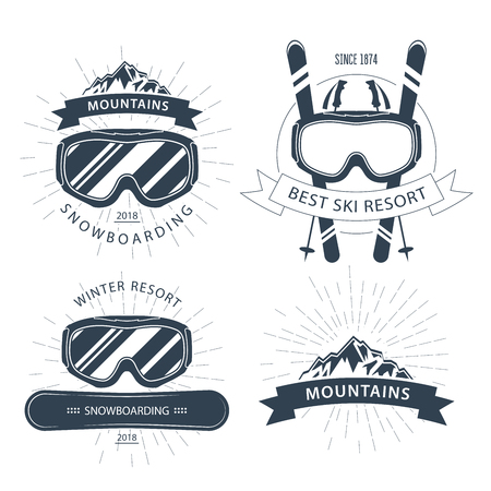 Ski resort emblem and lebels with goggles, mountains - winter sports Vectores