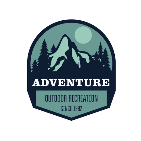 Hiking, mountain climbing and outdoor activity label