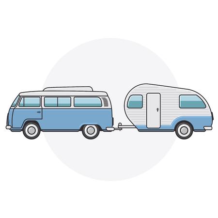 Retro van with camper trailer - vintage minibus side view Illustration
