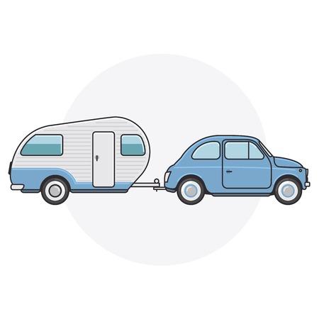 Retro car with camper trailer - travel on vintage automobile Illustration