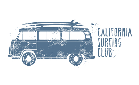 Retro van with surfboards on roof - vintage minibus, summer vacation 일러스트