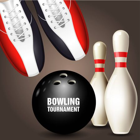 Bowling shoes, skittle and ball - bowling tournament invitation or poster