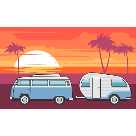 Retro van with camper trailer and evening sea beach Çizim