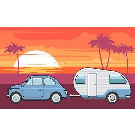 Retro auto met campertrailer - zomervakantie reis Stockfoto - 90588533