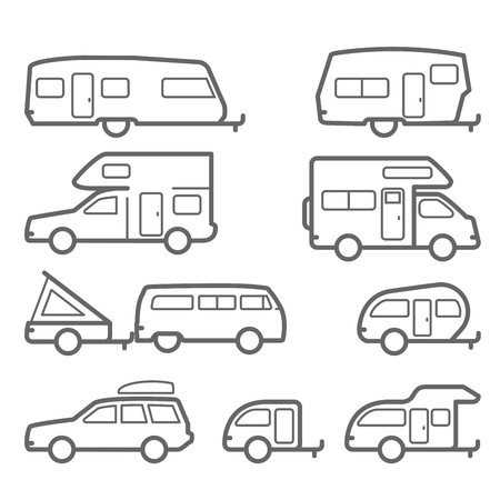 Caravans and camper trailers - road trip icons. Stock Vector - 90968552