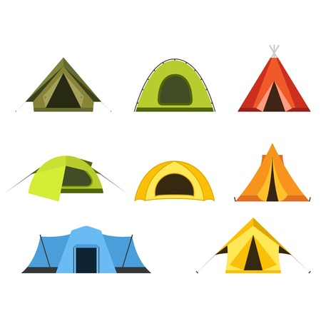 Set of camping tents icon - campsite and tourism, putting up a tent. Illustration