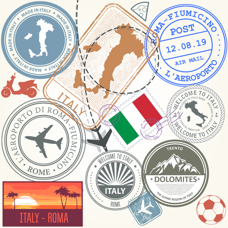 Travel stamps set - Italy and Rome journey symbols 向量圖像