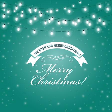 Christmas Lights frame - festive lights garlands greeting card Illustration