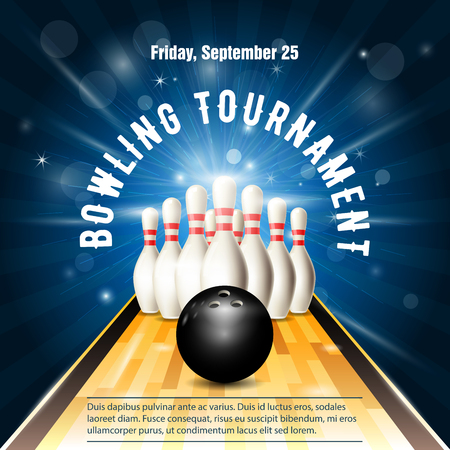 Bowling tournament flyer template with bowling court, skittles and ball.