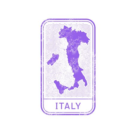 Travel stamp - Italy map outline