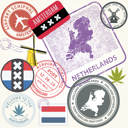 Netherlands travel stamps set - Holland journey symbols, Amsterdam Illustration