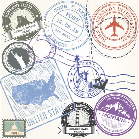 United states travel stamps set - USA journey symbols