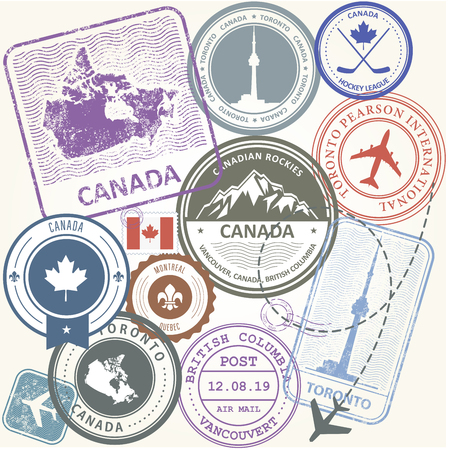 Canada travel stamps set -  journey symbols of Toronto, Canada and Quebec Иллюстрация