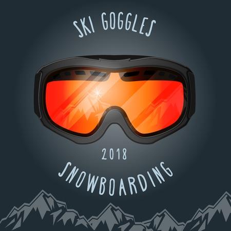 Ski goggles and mountains - snowboarding season poster