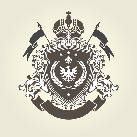 Royal coat of arms - heraldic blazon with crown and shield with eagle