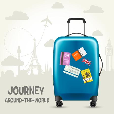 Modern blue plastic wheeled suitcase and european landmarks - tourism poster