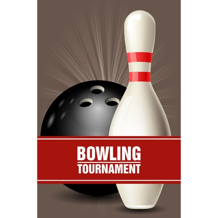Skittle and ball - bowling tournament invitation or poster