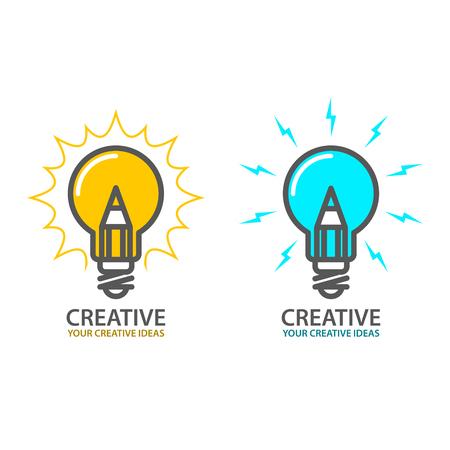 Symbol of creative idea - light bulb icon, design concept Illustration