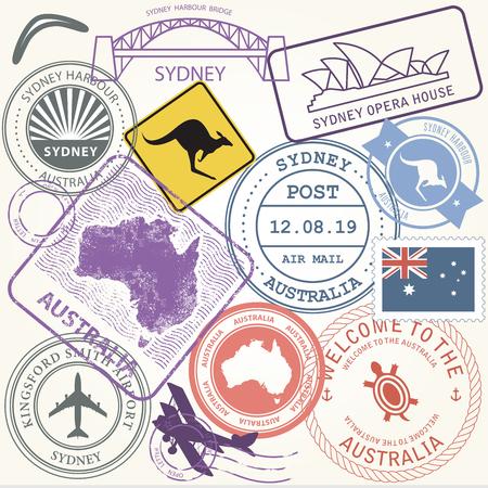 Australia travel stamps set with landmark of Sydney - journey symbols Illustration