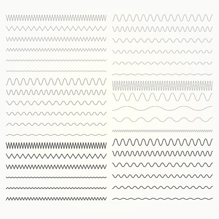 Set of wavy lines - zigzag and squiggly borders collection. Vektorové ilustrace
