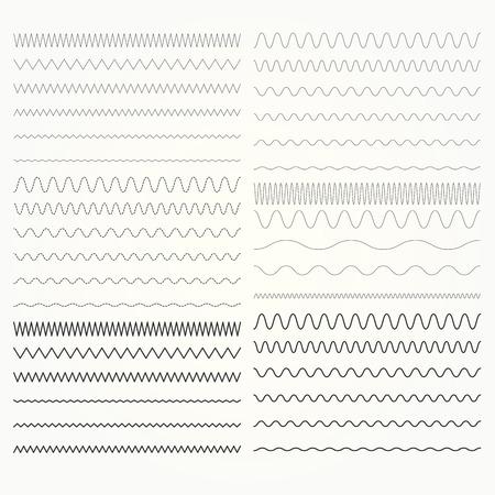 Set van golvende lijnen - zigzag en kronkelende grenzen collectie.