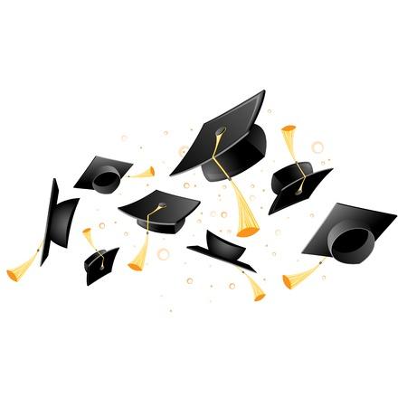 Flying academic mortarboard graduation, throw of student hats.