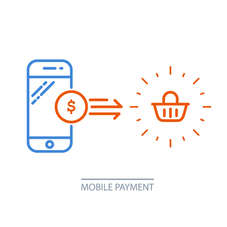 Mobile payment  smartphone and shopping cart, online purchase.