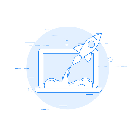 Launch of new business or startup rocket starts from laptop. Illustration