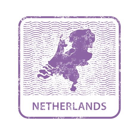 Netherlands postal stamp - outline of Holland country.