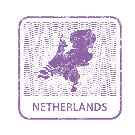 Netherlands postal stamp - outline of Holland country.