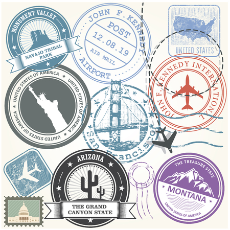 United states travel stamps set - USA journey landmarks.