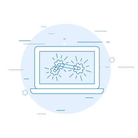 Laptop and gear mechanism - computation and analytics concept. Иллюстрация