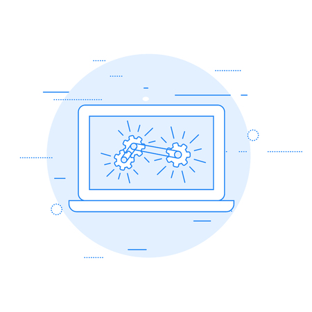 Laptop and gear mechanism - computation and analytics concept. Illustration